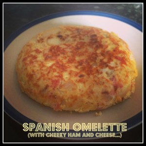 spanish omelette with cheeky ham and cheese